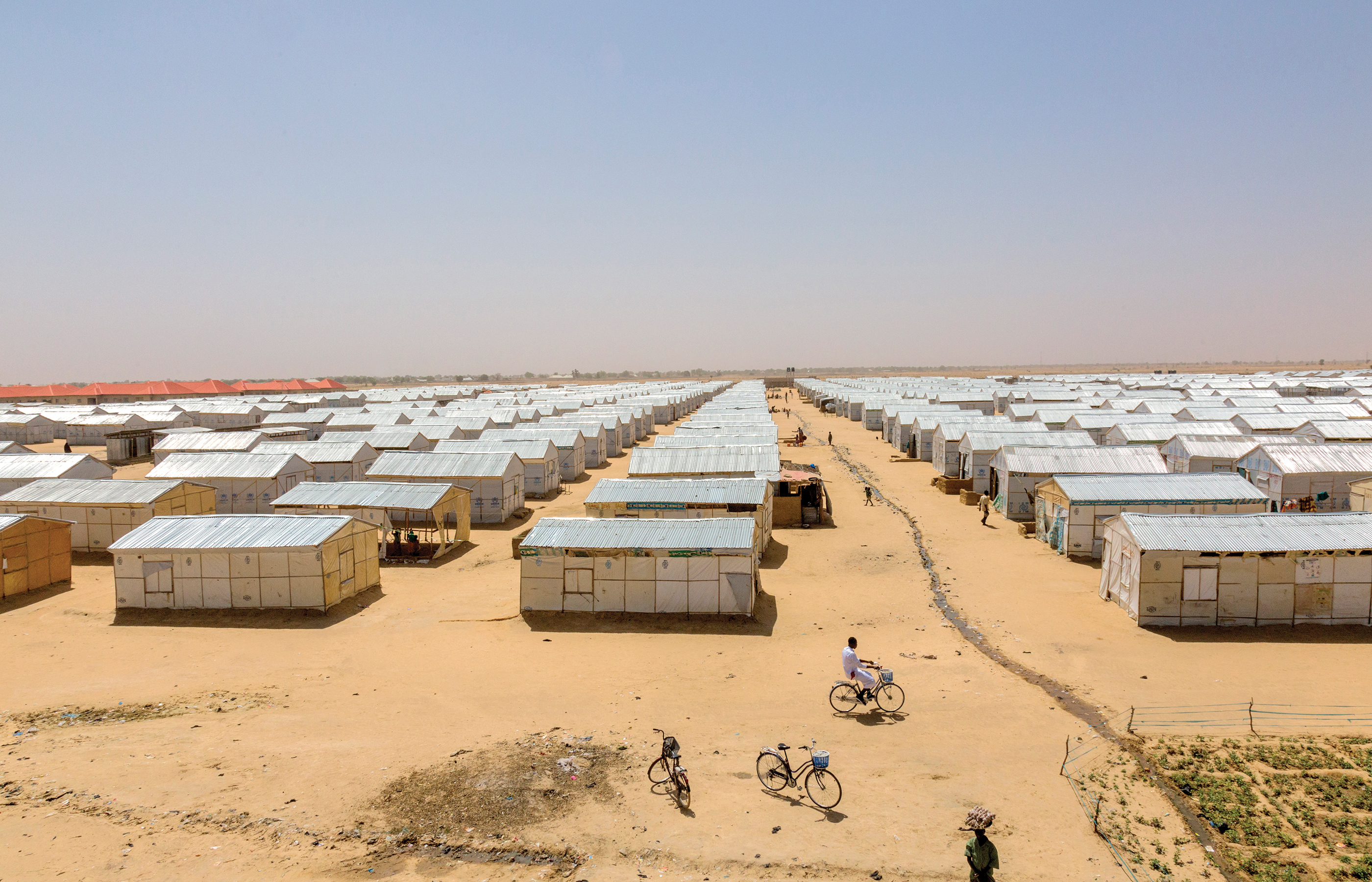 An overview image of the Bakasi IDP camp showing rows of tents.